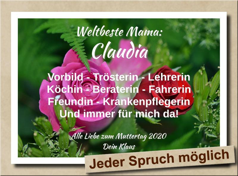 Rosenbild zum Muttertag mit individuellem Namensdruck und eigenem Sp...