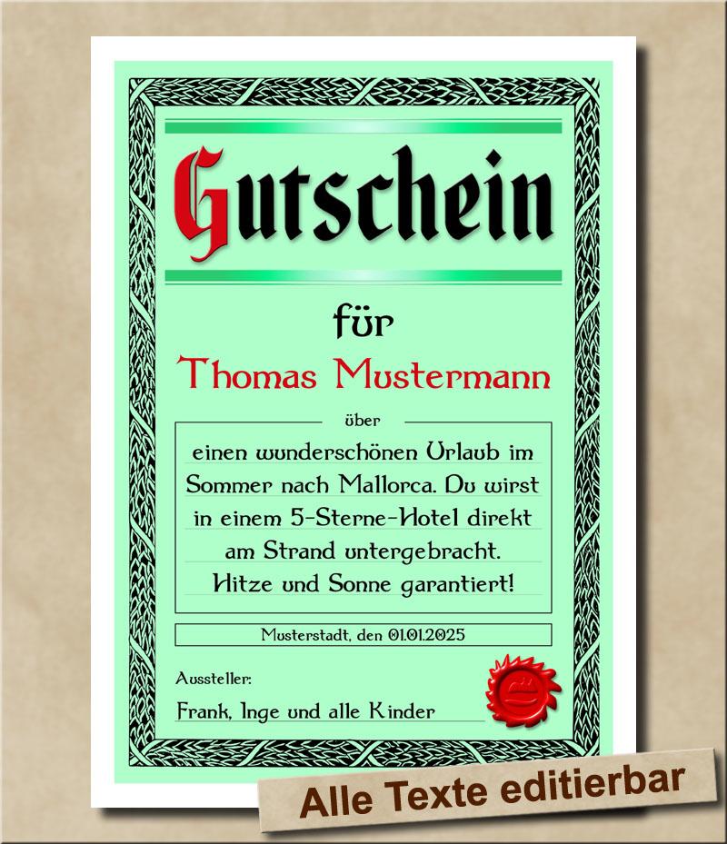 Blanko Geschenkgutschein mit Wunschtext in Grün