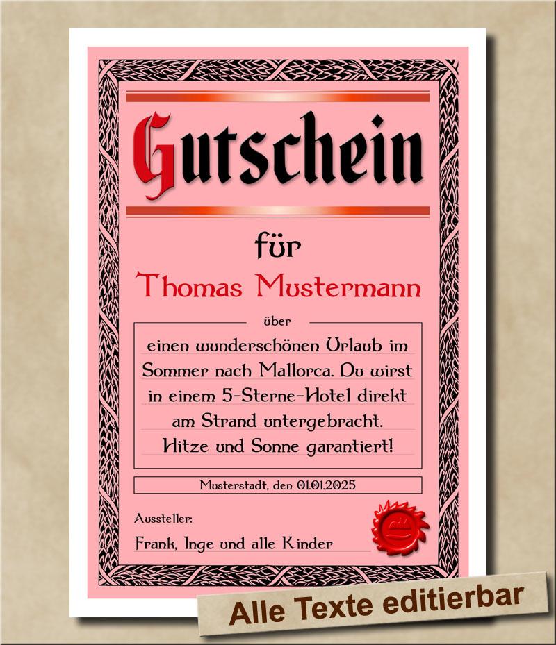 Blanko Geschenkgutschein mit Wunschtext in Rot