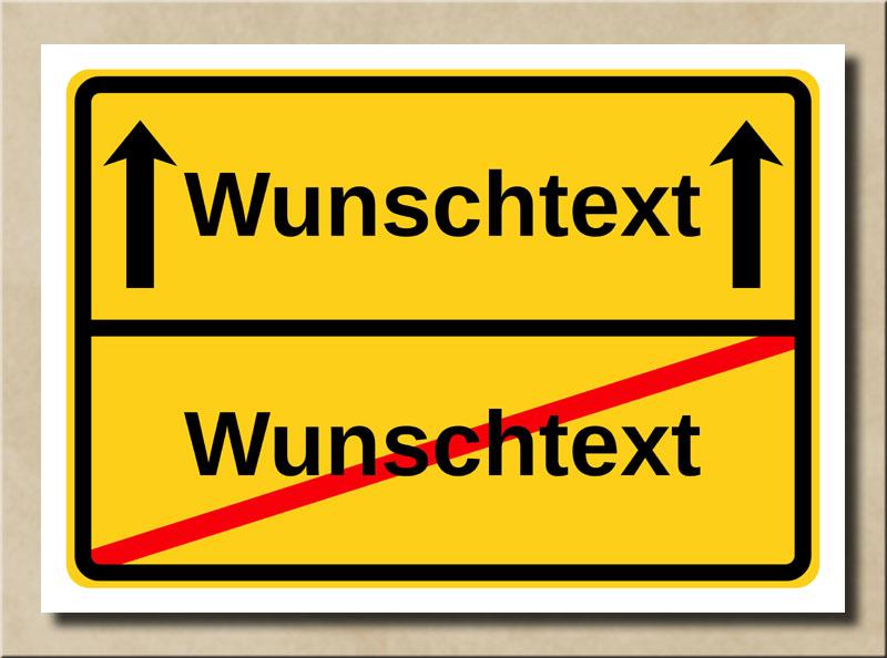 Ortsschild mit Pfeile Vorlage mit eigenem Text 2 Zeilen