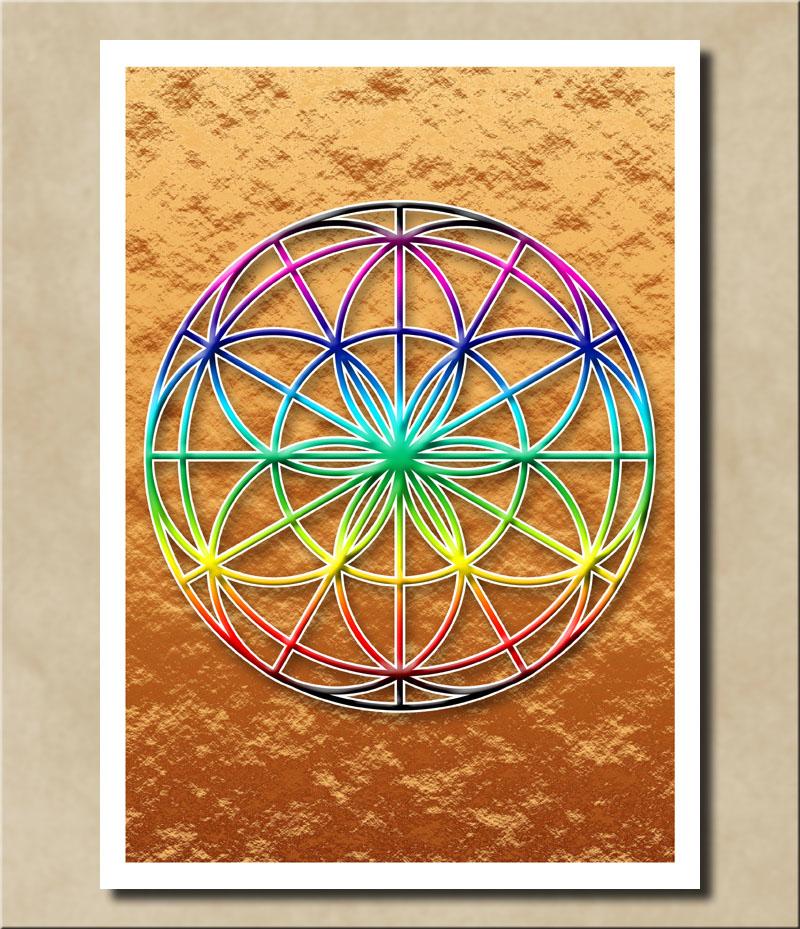 Blume des Lebens - Regenbogenfarben auf Kupferfolie