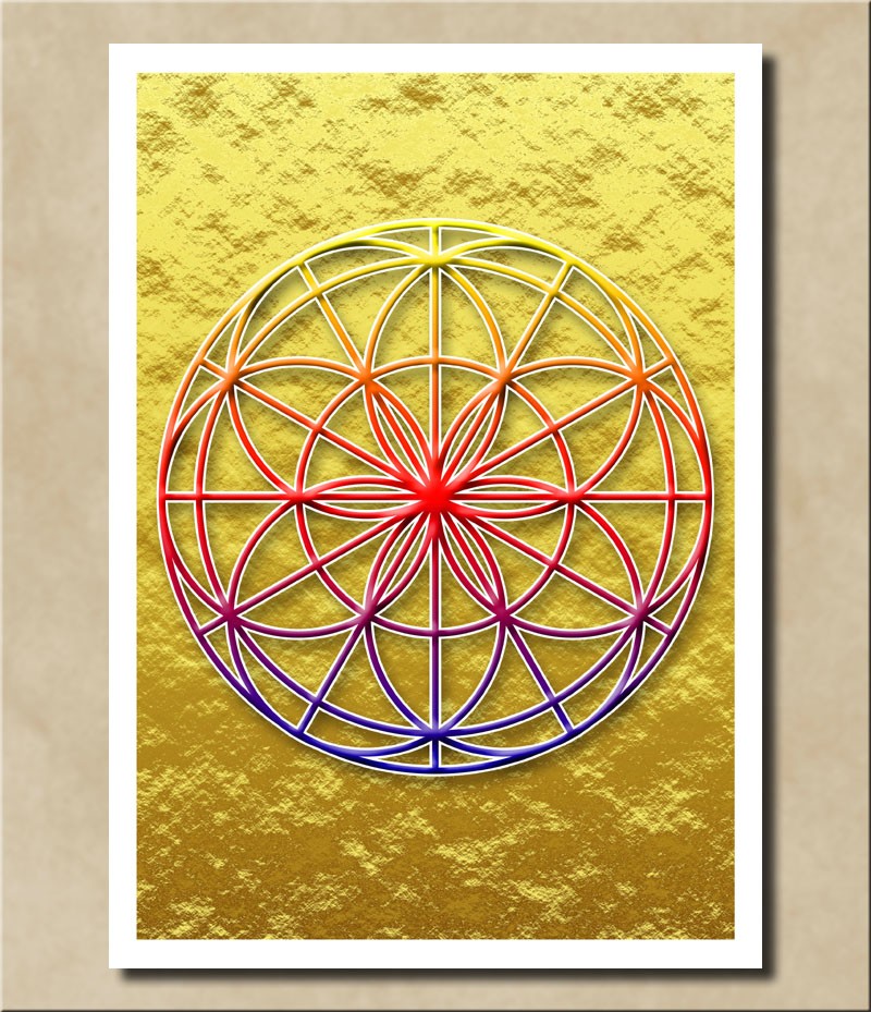 Blume des Lebens - Regenbogenfarben auf Goldfolie