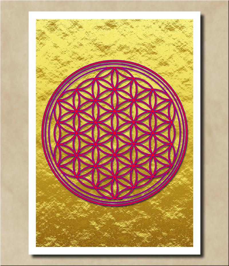 Blume des Lebens - Violett auf Goldfolie