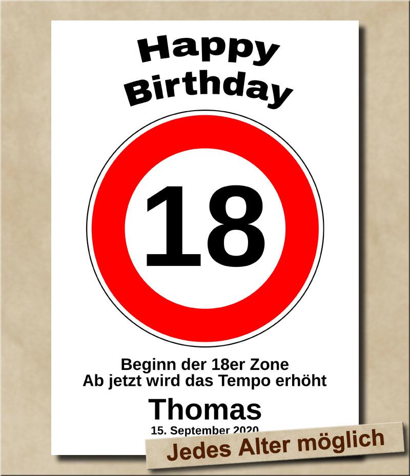 Tempolimit Verkehrsschild mit Wunschtext zum 18. Geburtstag