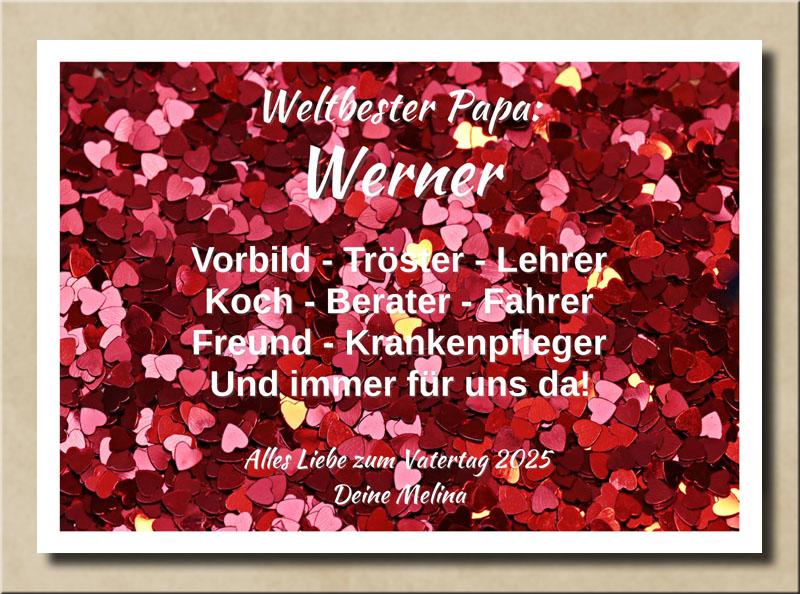 Wandbild 1000 Herzchen mit Name und Spruch zum Vatertag