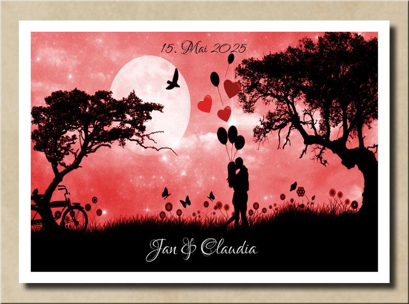 Liebespaar am roten Abend