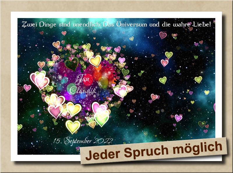 Universum und Liebe - Beides unendlich - Mit Herz in Bunt