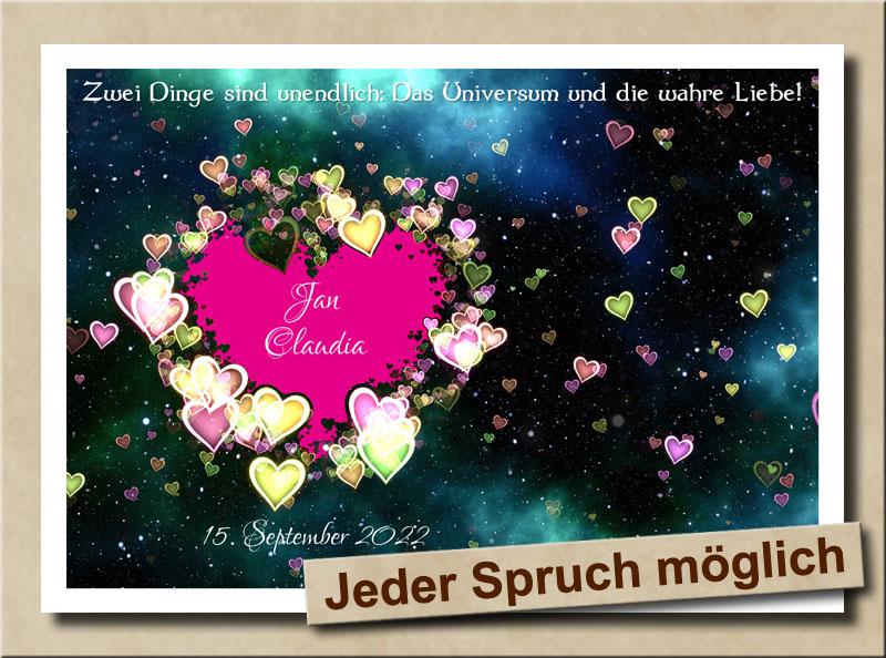 Universum und Liebe - Beides unendlich - Mit Herz in Lila