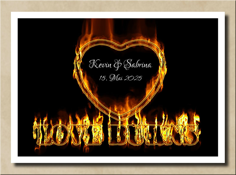 Love Burns Golden Fire Heart