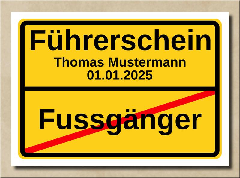 Ortstafel Fussgänger Führerschein
