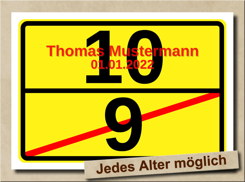 Ortsschild zum 10. Geburtstag mit XL Zahlen