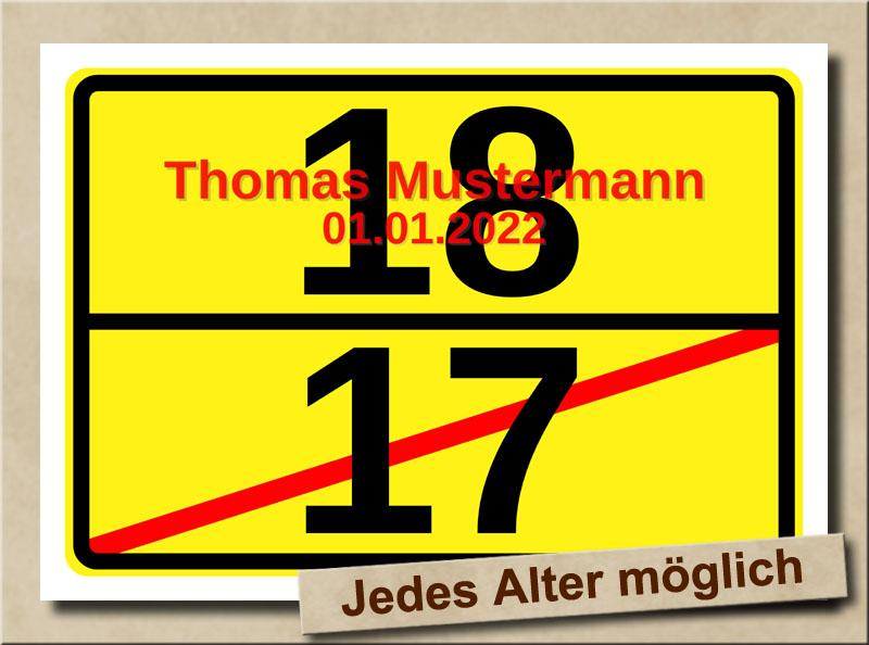 Ortsschild zum 18. Geburtstag mit XL Zahlen