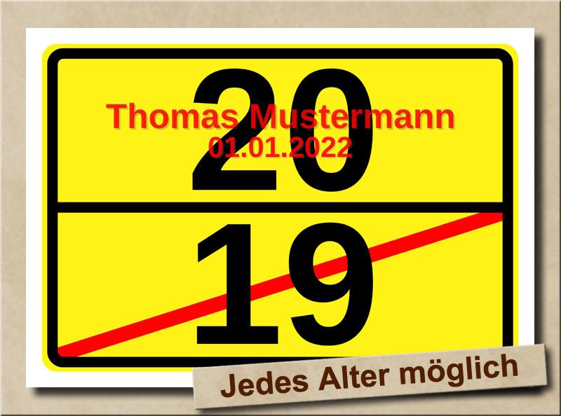 Ortsschild zum 20. Geburtstag mit XL Zahlen