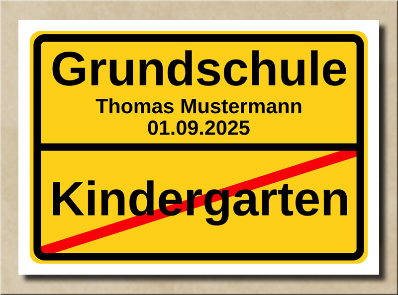 Ortstafel Grundschule zur Einschulung