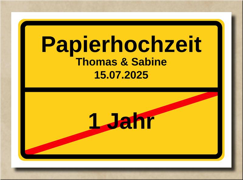 Ortsschild Papierhochzeit
