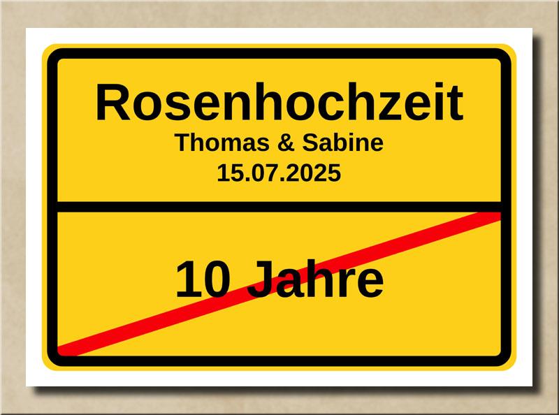 Ortsschild Rosenhochzeit