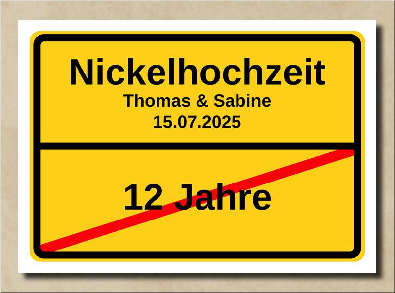 Ortsschild Nickelhochzeit
