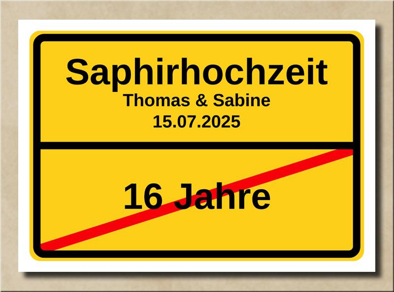 Ortsschild Saphirhochzeit