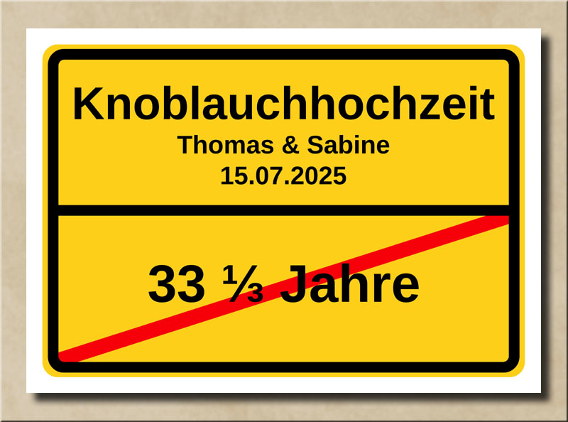 Ortsschild Knoblauchhochzeit