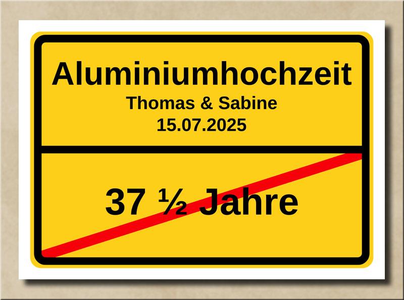 Ortsschild Aluminiumhochzeit