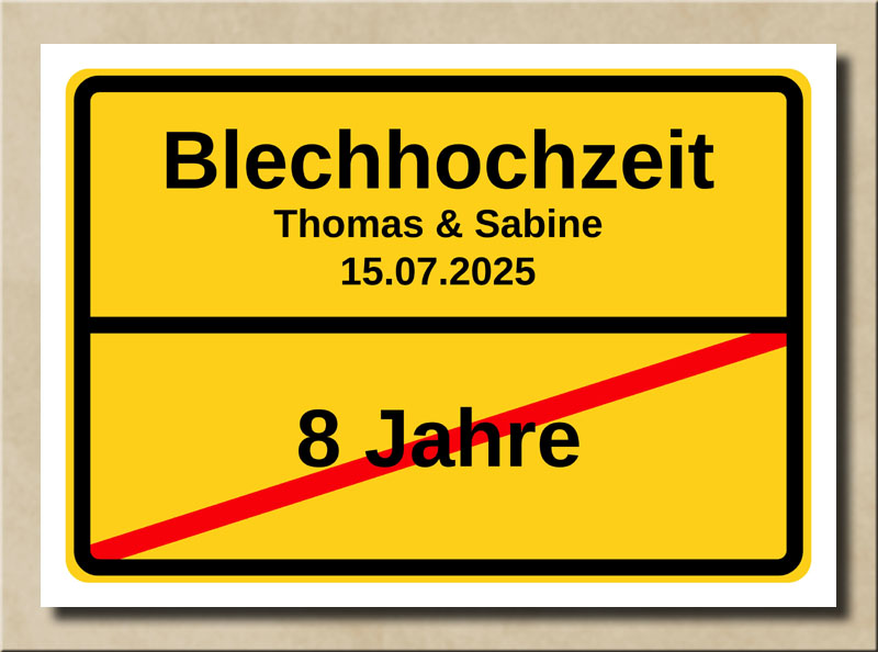 Ortsschild Blechhochzeit