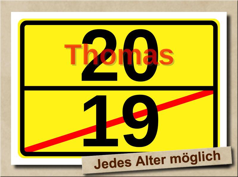 Ortstafel als Bild zum 20. Geburtstag mit Vorname und XL Alter