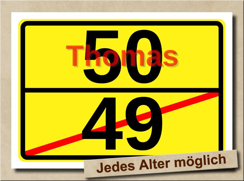 Ortstafel als Bild zum 50. Geburtstag mit Vorname und XL Alter