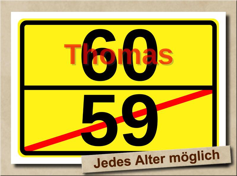 Ortstafel als Bild zum 60. Geburtstag mit Vorname und XL Alter