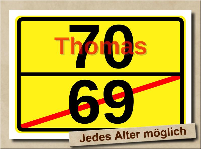 Ortstafel als Bild zum 70. Geburtstag mit Vorname und XL Alter
