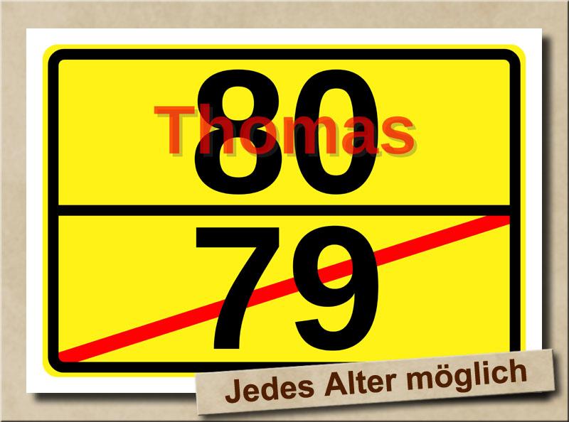 Ortstafel als Bild zum 80. Geburtstag mit Vorname und XL Alter