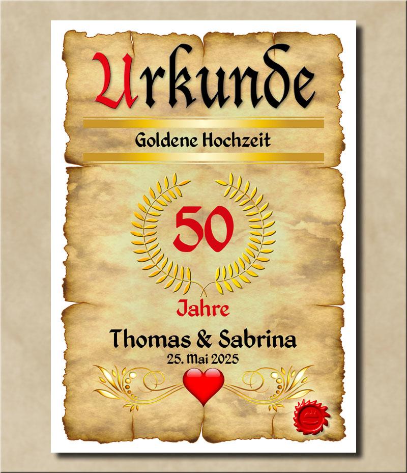 Hochwertige Urkunde zur Goldenen Hochzeit
