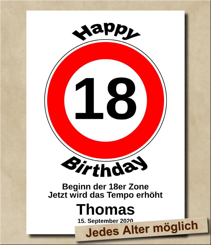 Verkehrsschild Tempolimit zum Geburtstag 18 Jahre