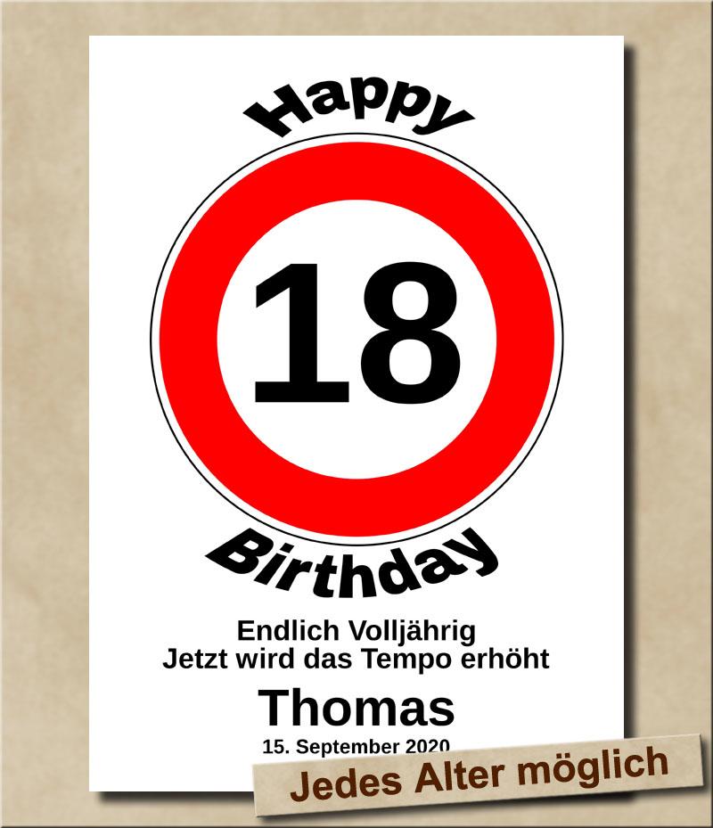 Verkehrsschild Tempolimit zum Geburtstag 18 Jahre Volljährig