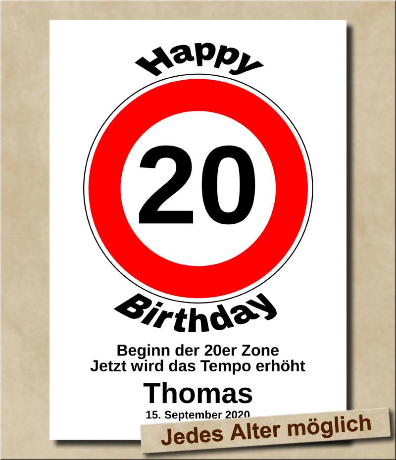Verkehrsschild Tempolimit zum Geburtstag 20 Jahre
