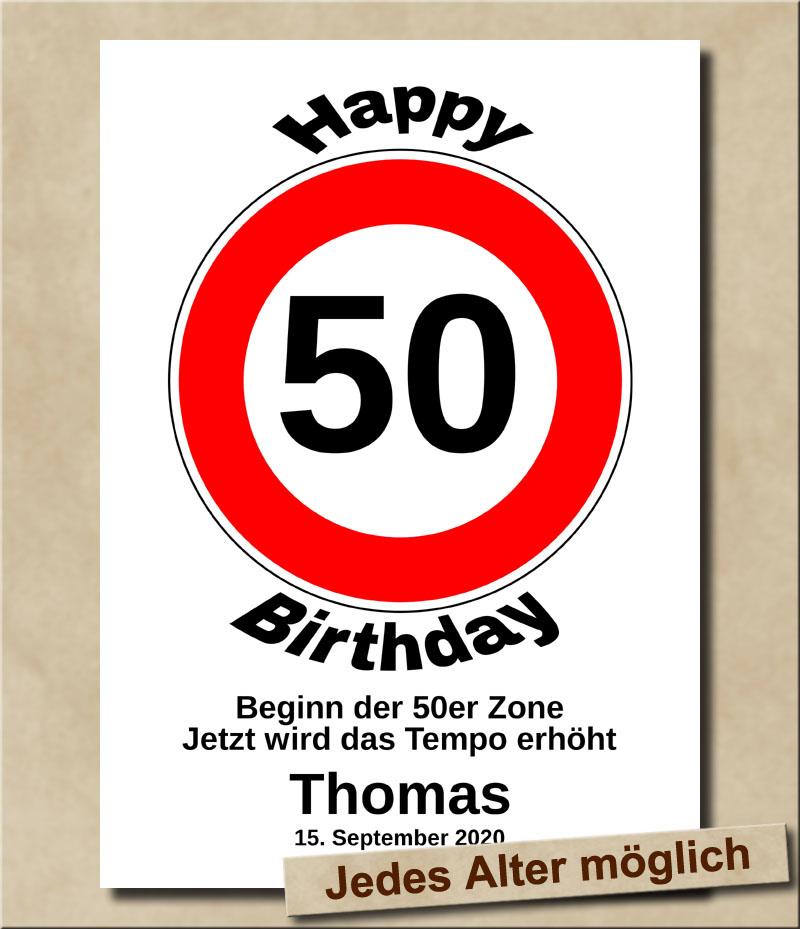 Verkehrsschild Tempolimit zum Geburtstag 50 Jahre
