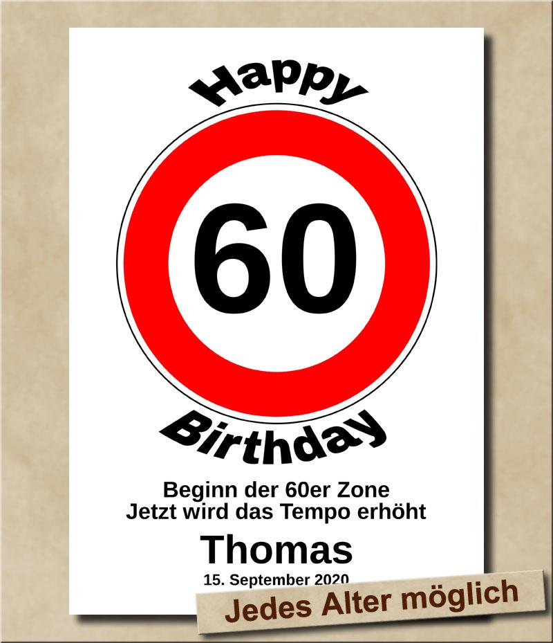 Verkehrsschild Tempolimit zum Geburtstag 60 Jahre