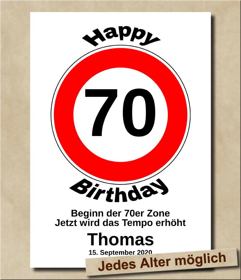 Verkehrsschild Tempolimit zum Geburtstag 70 Jahre