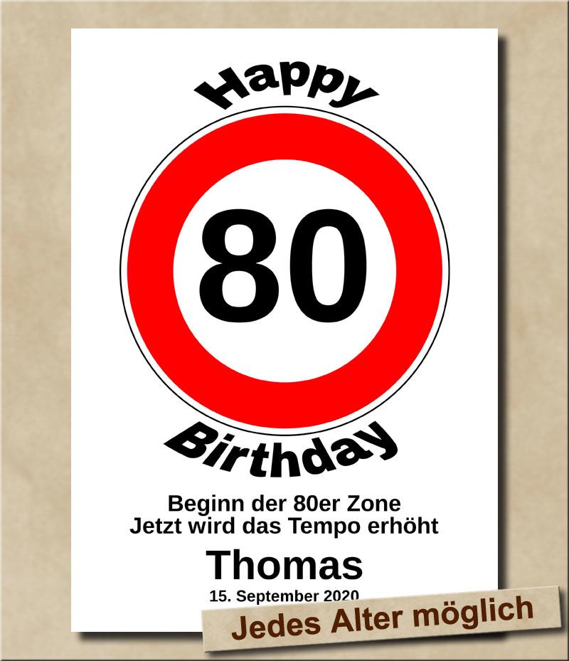 Verkehrsschild Tempolimit zum Geburtstag 80 Jahre