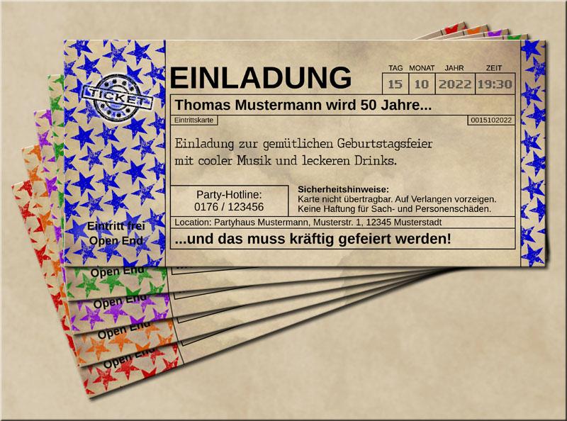 Einladungskarten Stars im Old Vintage Look Blau