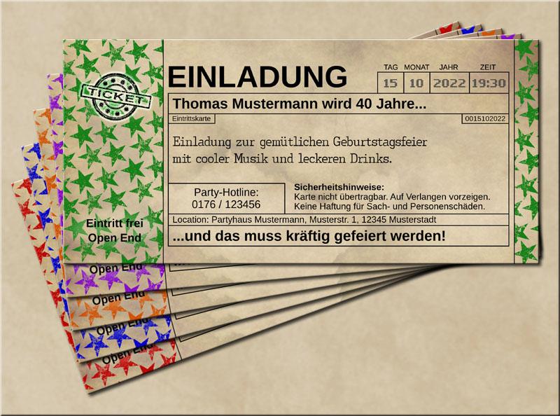 Einladungskarten Stars im Old Vintage Look Grün