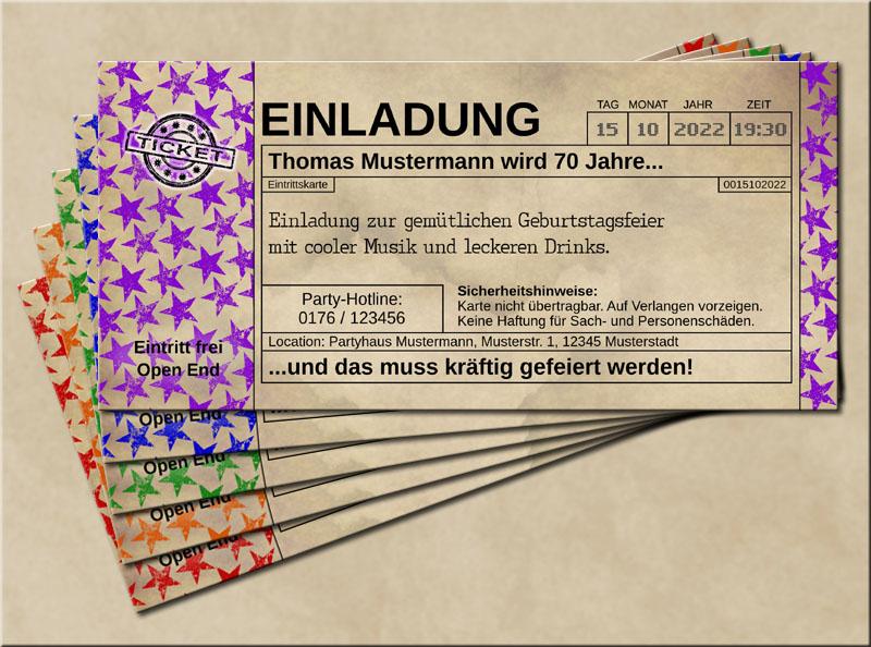 Einladungskarten Stars im Old Vintage Look Lila