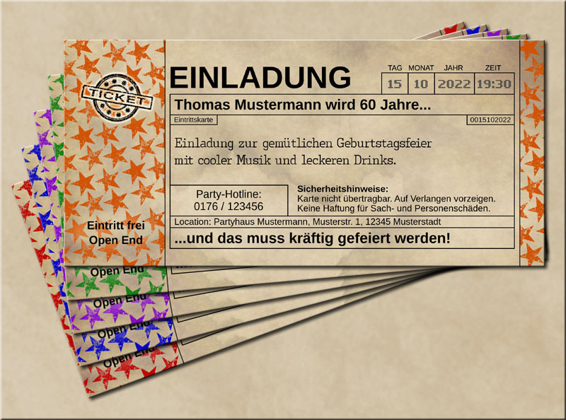 Einladungskarten Stars im Old Vintage Look Orange