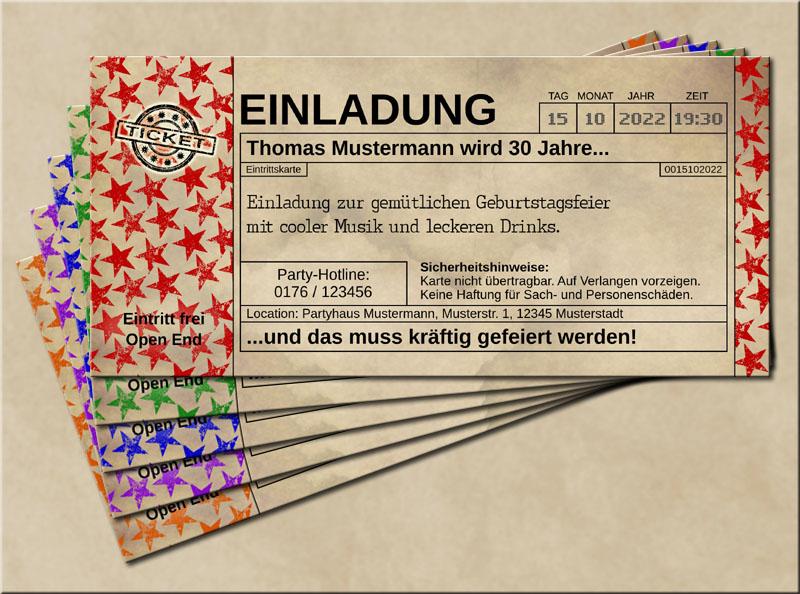 Einladungskarten Stars im Old Vintage Look Rot