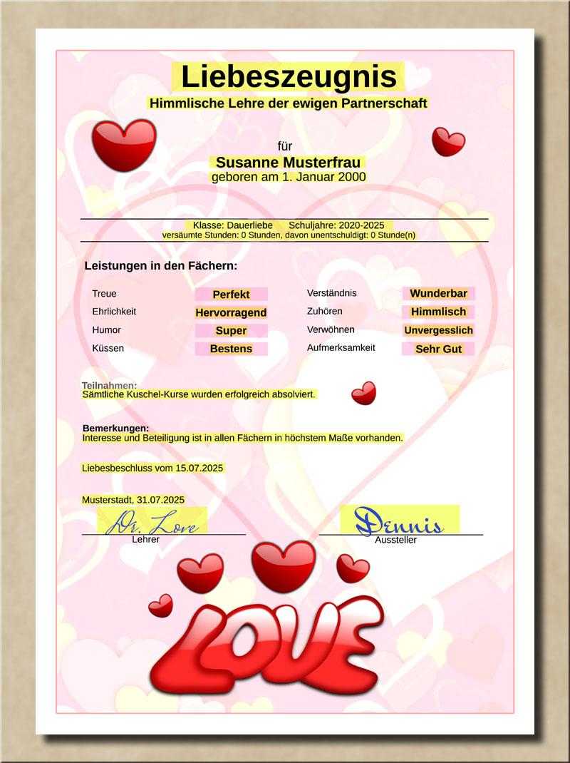 Liebeszeugnis zartrosa mit Partnernoten