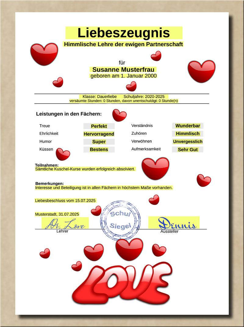 Liebeszeugnis für Partner mit Schulnoten